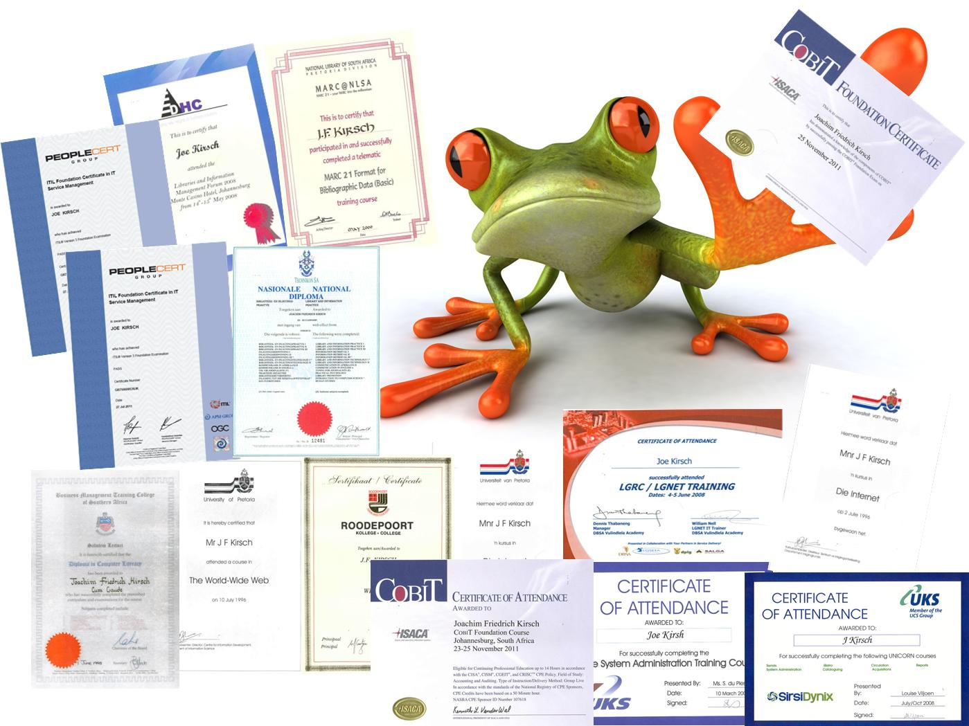 A few of my Diplomas and Certificates